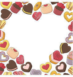 heart made from a variety of desserts cakes vector image