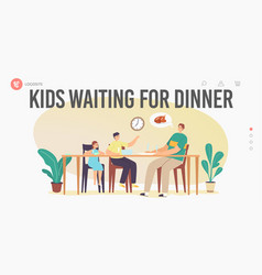 Hungry family waiting dinner landing page template vector