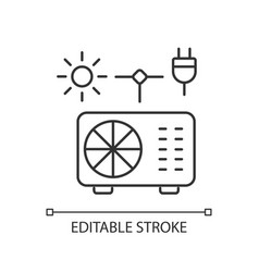 Hybrid air conditioner linear icon vector