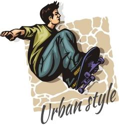 Jump on a skateboard - color vector image