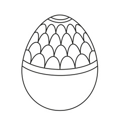 Line art black and white easter egg with pattern vector