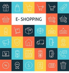 Line Art Online Shopping Icons Set vector image