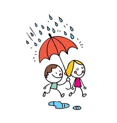 little boy and girl in the rain vector image