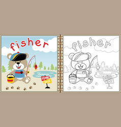 little fisher cartoon coloring page or book vector image