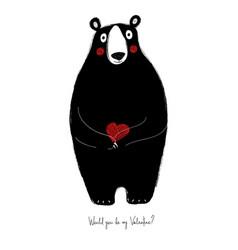 love card with cute bear vector image