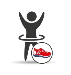 man hand up silhouette with sneaker red icon vector image