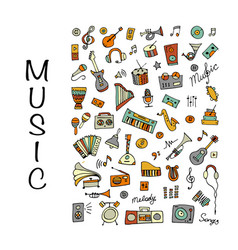 Music instrument set sketch for your design vector
