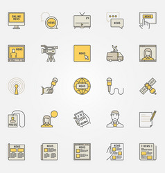 news colorful icons set vector image
