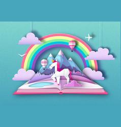 Open fairy tale book with unicorn rainbow vector
