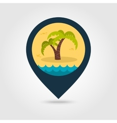 Palm tree pin map icon Summer Vacation vector image