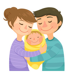 Parents hugging a baby vector