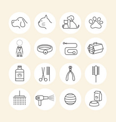 Pets grooming shop line icons set vector