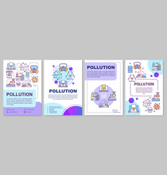Pollution brochure template environmental damage vector