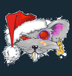 rat in santas hat symbol year 2020 vector image