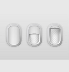 realistic detailed 3d portholes airplane set vector image