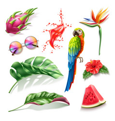 Realistic summer holiday tropical 3d set vector