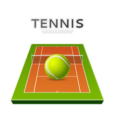 realistic tennis ball at playground 3d icon vector image