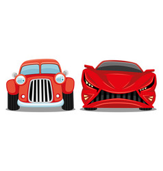 red retro car and modern car vector image