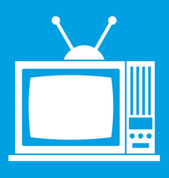 Retro tv icon white vector