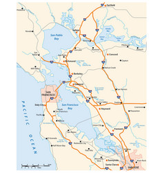 Road map californias san francisco bay area vector