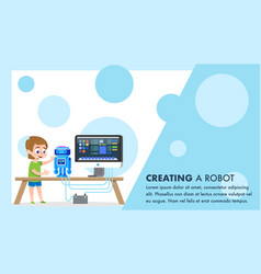 Robot creating course flat young child hobbies vector