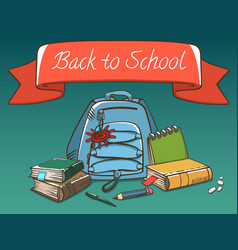 school stuff with red label bag pack books pen vector image