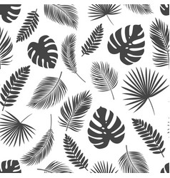 seamless pattern silhouettes tropical leaves vector image