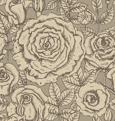 Seamless pattern with graphic roses vector image