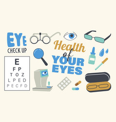 set icons eyesight diagnostics theme vector image