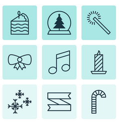Set of 9 new year icons includes lollipop fire vector