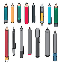 set of pen and pencil vector image