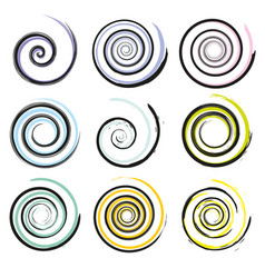 set of spiral and swirl motion elements isolated vector image