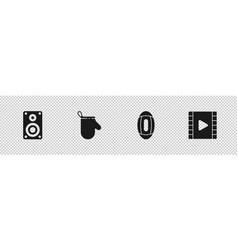 Set stereo speaker oven glove american football vector