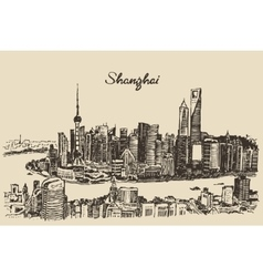 Shanghai City architecture China vintage sketch vector