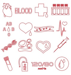 simple blood outline red icons set eps10 vector image