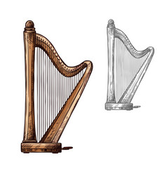 sketch harp musical instrument icon vector image