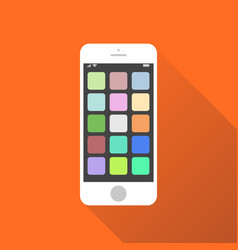 smartphone icon on orange background with shadow vector image