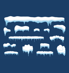 Snow with icicle and ice cap winter weather vector