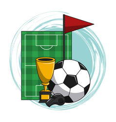 soccer cartoon elements vector image