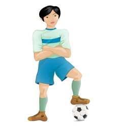 Soccer player of the south-east asia pose a winner vector