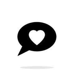 Speech bubble with heart icon on white background vector