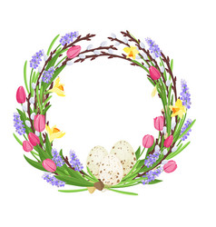 Spring wreath from branches of willow and flowers vector