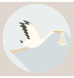 Stork delivering baby cartoon vector