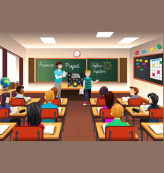 student having science presentation vector image