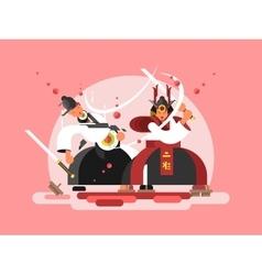 Sushi samurai design vector