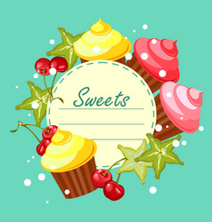 Sweet cupcakes card vector