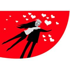 this is true love a girl hugs her boyfriend vector image