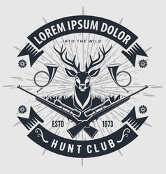 Vintage style hunt club logo with hunting rifles vector