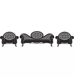 Vintage upholstered furniture set vector