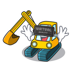 Virtual reality excavator mascot cartoon style vector